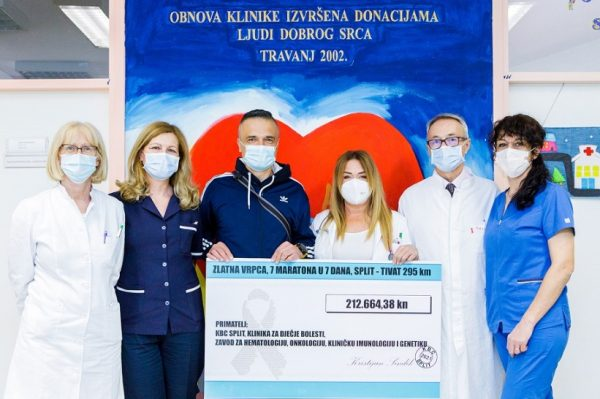 Akcijom 7 maratona u 7 dana prikupljeno je više od 200.000 kuna za Odjel dječje onkologije KBC Split