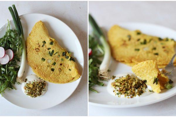 Culinary Postcards: Omlet bez jaja s mladim lukom za veganski uskrsni doručak