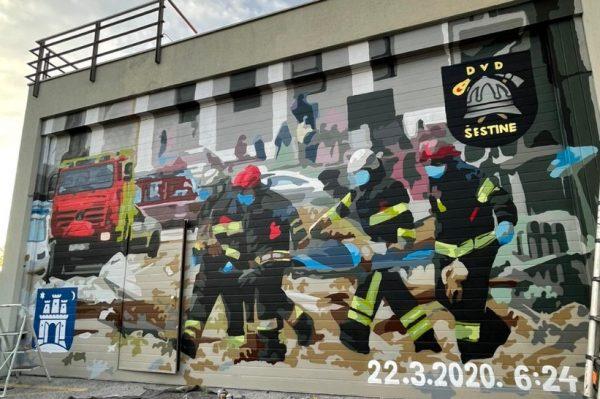 Obljetnica potresa: Ekipa iz Graffiti na Gradele napravila je mural posvećen vatrogascima